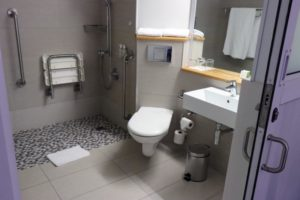 Paraplegic bathroom at The Riverside Hotel in Durban North