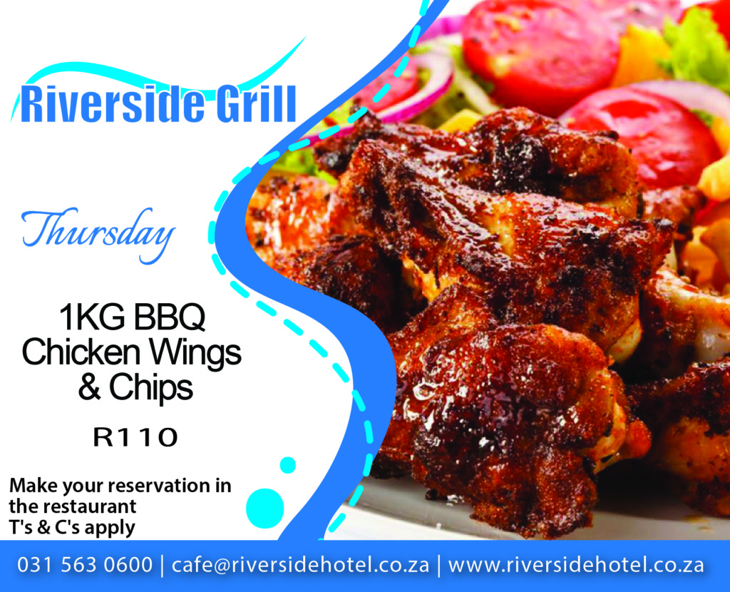 Riverside Grill CHicken Wings & Chips Special