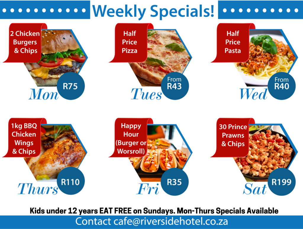 Riverside Hotel Weekly Grill Specials